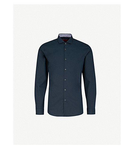 HUGO Cutaway-collar extra slim-fit cotton shirt (Navy
