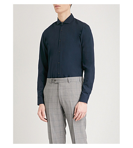 HUGO Cutaway-collar extra slim-fit cotton shirt (Navy