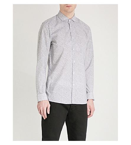 HUGO Signature-print cotton shirt (Black