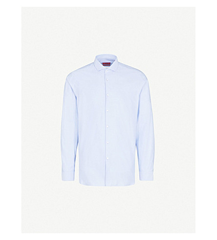 HUGO Cutaway-collar extra slim-fit cotton shirt (Light/pastel+blue