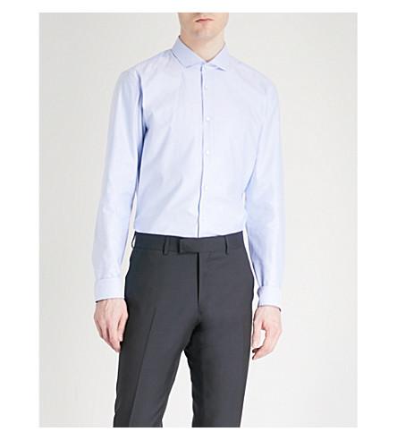 HUGO Cutaway-collar extra slim-fit cotton shirt (Light/pastel+blue