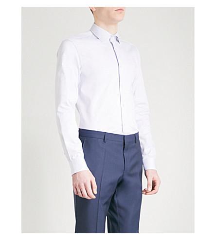 BOSS Slim-fit pin dot-patterned cotton shirt (White