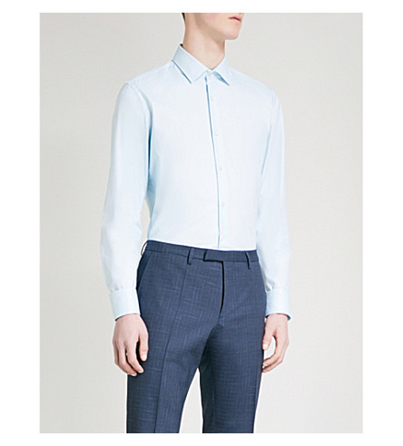BOSS Slim-fit cotton shirt (Turquoise/aqua