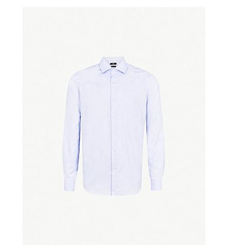 BOSS Micro-check pattern regular-fit cotton shirt (Bright+blue