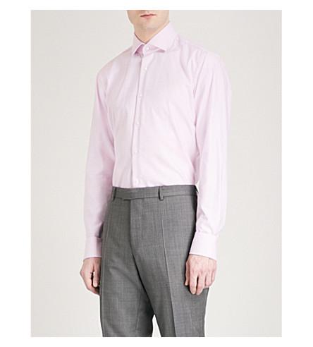 BOSS Micro-check pattern regular-fit cotton shirt (Medium+pink