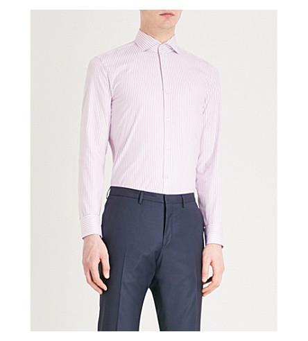 BOSS Striped slim-fit cotton shirt (Medium+pink