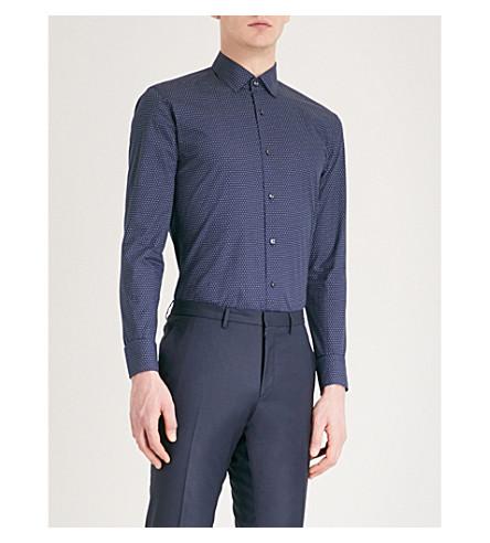 BOSS Logo-print slim-fit cotton shirt (Navy