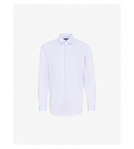 BOSS Striped slim-fit cotton shirt (Bright+blue