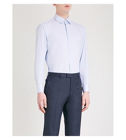 BOSS Striped regular-fit cotton shirt (Open+blue