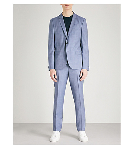 HUGO Sharkskin-pattern tailored-fit wool suit (Turquoise/aqua