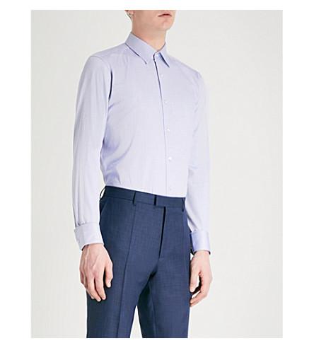 BOSS Regular-fit cotton shirt (Medium+blue