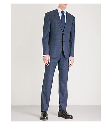 BOSS Checked wool suit (Navy