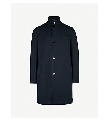 BOSS Band-collar cotton-blend coat (Navy