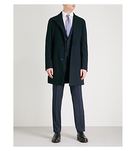 BOSS Band-collar cotton-blend coat (Navy