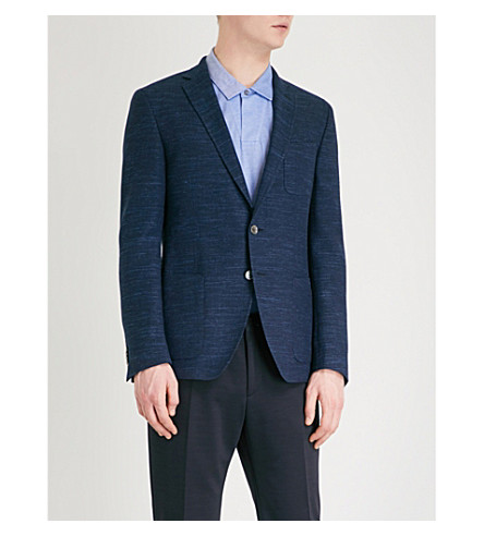 BOSS Slim-fit single-breasted wool jacket (Open+blue