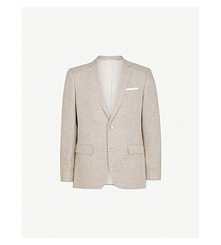 BOSS Single-breasted wool and linen-blend jacket (Medium+beige