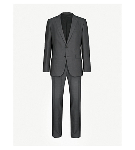 BOSS Slim-fit wool and silk-blend suit (Open+grey