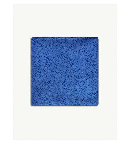 HUGO Spot pattern silk pocket square (Open+blue