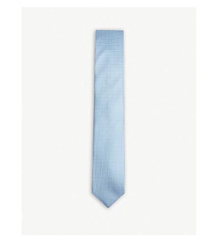 BOSS Tonal square pattern silk tie (Light/pastel+blue
