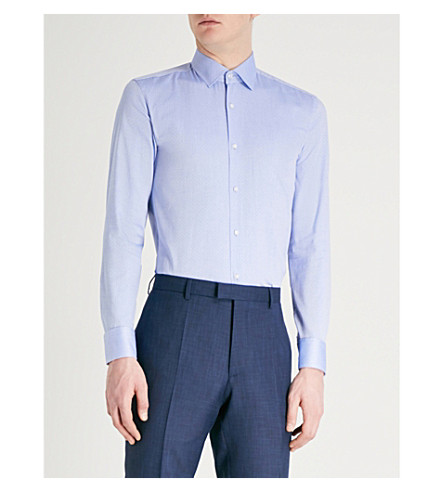 BOSS Regular-fit cotton shirt (Bright+blue