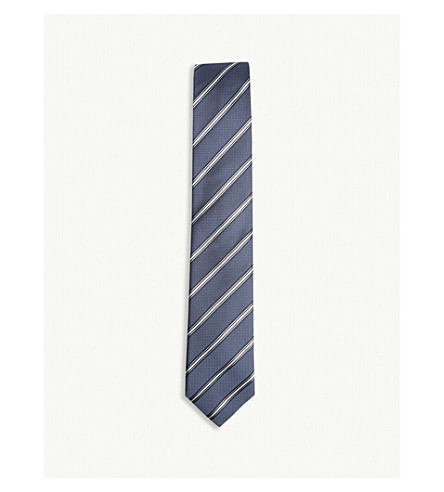 BOSS Striped silk tie (Medium+blue