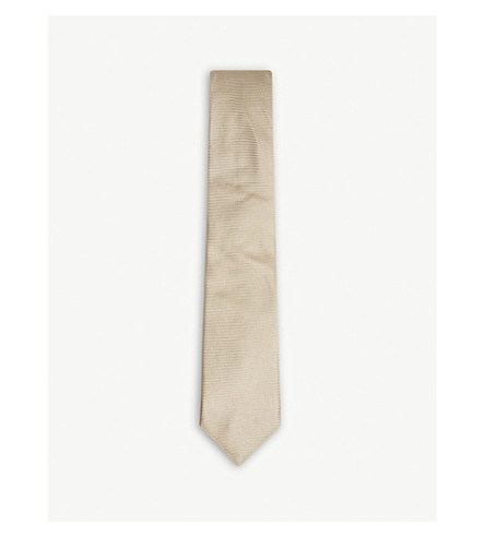BOSS Solid twill silk tie (Medium+beige
