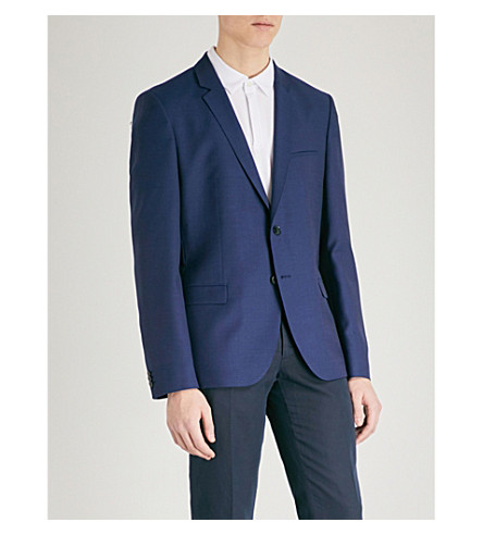 HUGO Slim-fit textured blazer (Open+blue