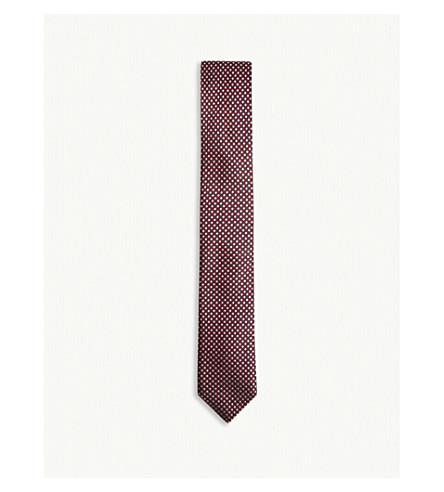 BOSS Grid and dot pattern silk tie (Dark+pink