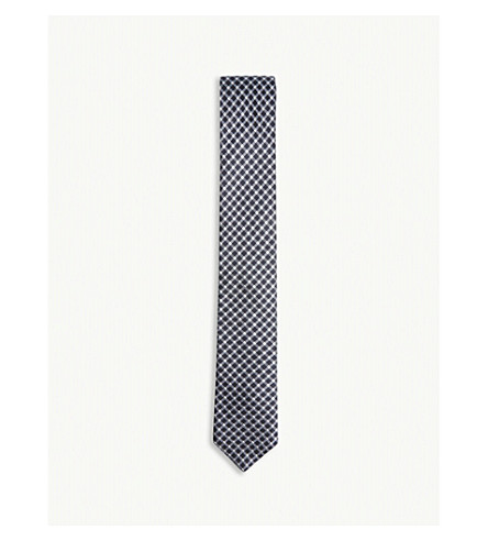 BOSS Tonal crosshatch silk tie (Navy