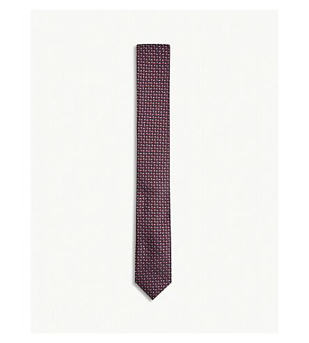 BOSS Tonal fleck pattern silk tie (Dark+pink