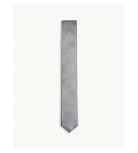BOSS Hexagonal pattern silk tie (Open+grey