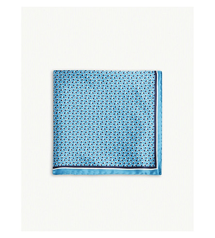 BOSS Micro-pattern silk pocket square (Light/pastel+blue