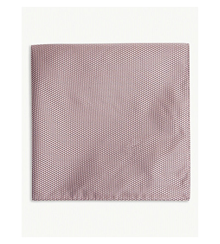 BOSS Micro square silk pocket square (Light/pastel+pink