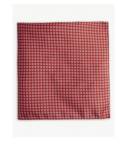 BOSS Floral silk pocket square (Bright+red