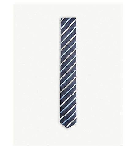 BOSS Two-tone striped silk tie (Light/pastel+blue