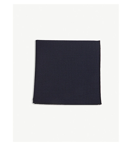 BOSS Textured wool pocket square (Navy