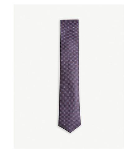 BOSS Circle grid pattern silk tie (Dark+pink