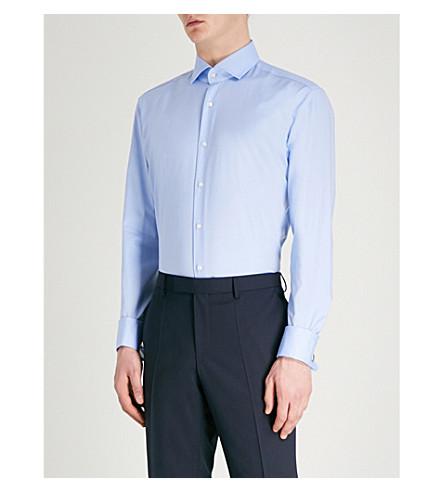 BOSS Regular-fit cotton shirt Light/pastel blue Outlet Low Shipping OqpmAus8F