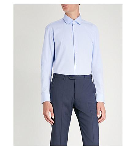 BOSS BOSS fit blue Checked Checked slim fit slim pastel cotton shirt cotton Light rW6WnpfxqS