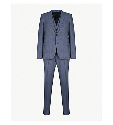 HUGO Tailored-fit wool suit (Medium+blue