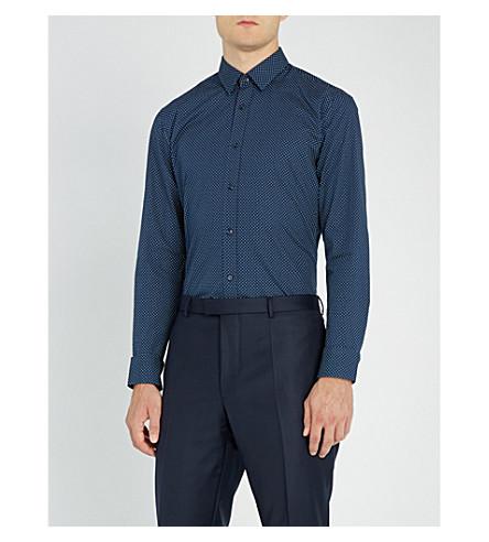HUGO三角打印额外的修身版型棉衬衫 (海军