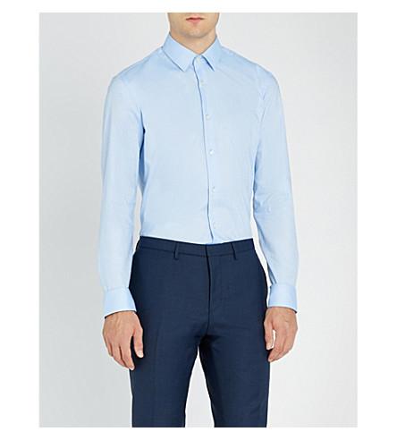 BOSS Pindot 型修身版型棉衬衫 (浅色/粉彩 + 蓝色)