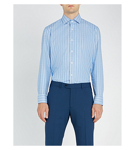 BOSS 格子型常规版型棉衬衫 (亮 + 蓝)