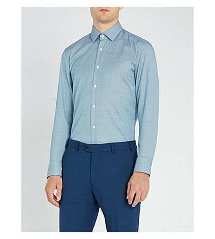 BOSS Geometric-pattern slim-fit cotton shirt (Turquoise/aqua