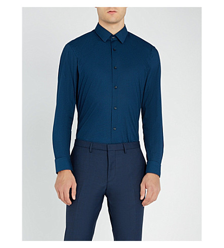 BOSS 徽标打印修身版型棉衬衫 (亮 + 蓝)
