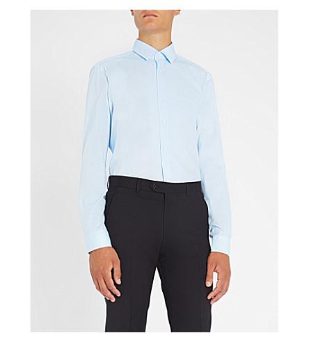 BOSS Business micro heart-print slim-fit cotton shirt (Light/pastel+blue