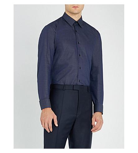 BOSS 商务微电脑格纹常规版型棉衬衫 (海军