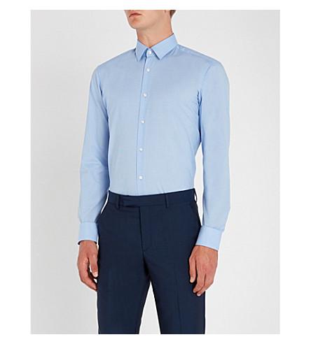 BOSS Houndstooth 花纹常规版型棉衬衫 (浅色/粉彩 + 蓝色)