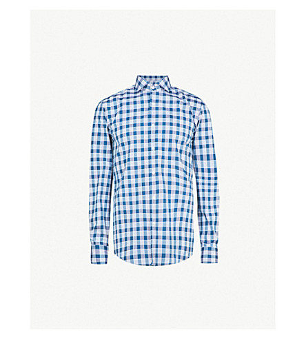 BOSS Checked slim-fit cotton shirt (Turquoise/aqua