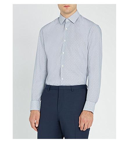 BOSS 条纹常规版型棉衬衫 (海军